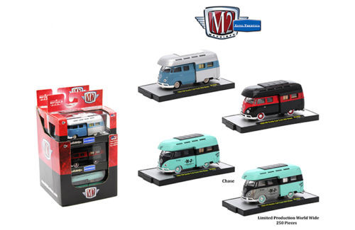 Auto Thentics 3 Cars Set of 1959 Volkswagen Double Cab Truck with Campers IN PLASTIC CASES 1/64 Diecast Model Cars M2 Machines 32500-MJS05