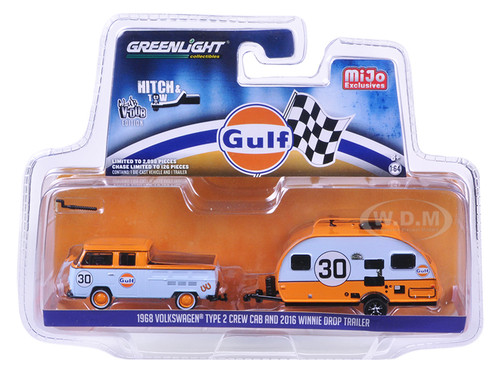 1968 Volkswagen Type 2 Crew Cab Gulf #30 and 2016 Winnie Drop Trailer Hitch & Tow Series Limited Edition to 2898pcs 1/64 Diecast Model Car Greenlight 51114 C
