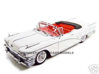 1958 Buick Convertible White Platinum 1/18 Diecast Model Car Sunstar 4812