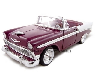 1956 Chevrolet Bel Air Convertible Plum 1/18 Diecast Model Car Road Signature 92128