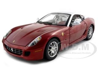 Ferrari 599 GTB Fiorano Elite Edition Burgundy With Silver 1/18 Diecast Model Car Hotwheels N2067