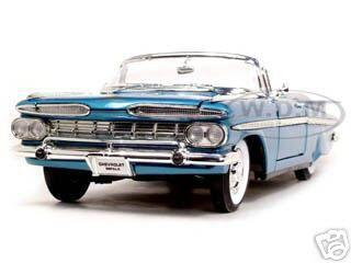 1959 Chevrolet Impala Convertible Blue 1/18 Diecast Model Car Road Signature 92118