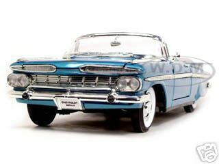 1959 Chevrolet Impala Convertible Blue 1/18 Diecast Model Car Road Signature 92118