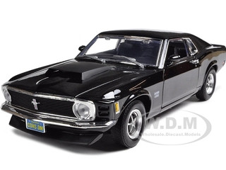 1970 Ford Mustang Boss 429 Black 1/18 Diecast Car Model Motormax 73154