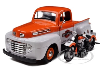 1948 Ford F-1 Pickup Truck Harley Davidson With 1948 FL Panhead Motorcycle Orange/White 1/24 Diecast Model Car Maisto 32171