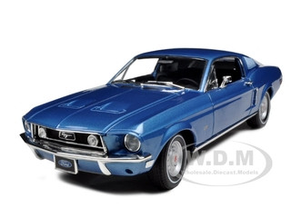1968 Ford Mustang GT 2+2 Fastback Acapulco Blue 1/18 Diecast Model Car Greenlight 12820