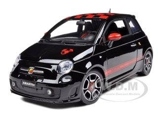 2008 Fiat 500 Abarth Black 1/18 Diecast Model Car Bburago 11028