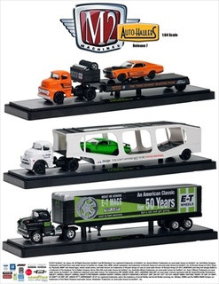 Auto Haulers Series 7, 3pc Diecast Trucks Set 1/64 Diecast Models M2 Machines 36000-07