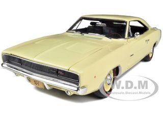 1968 Dodge Charger R/T SS1 Light Yellow 1/18 Diecast Model Car Autoworld AMM972