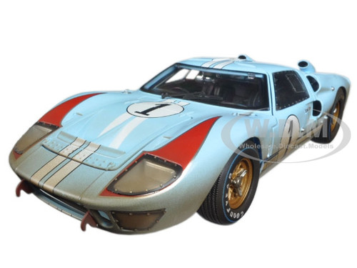 brand new 118 scale diecast model of 1966 ford gt 40 mk 2 gulf blue dirty version 1 die cast model car by shelby collectibles
