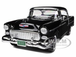 1955 Chevrolet Bel Air Hard Top Black 1/18 Diecast Car Model Motormax 73185