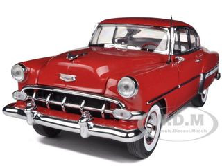 1954 Chevrolet Bel Air Hard Top Red 1/18 Diecast Model Car Sunstar 1700