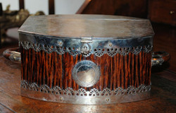 Antique English Victorian Sheffield silver plated tea caddy.