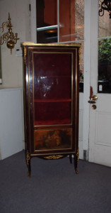 ntique French Handpainted Mahogany with Carved Ormulu Mounts Vitrine Cabinet, signed Vernis Martin
