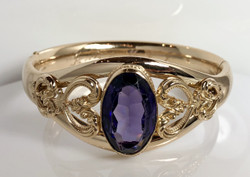 Antique American Amethyst and Gold-Filled Bangle
