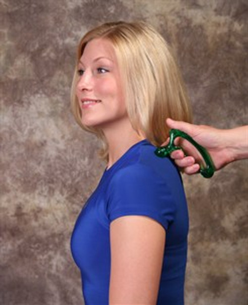 The Index knobber II is good for pressure point massage It comes in 5 colors and has a hang tag. The Original Index Knobber® II  The Original Index Knobber® II massage tool is a simple device designed to let you apply deep pressure to muscles within easy reach of your hand. It the ideal instrument for clinic or home use allowing for firm, sustained pressure on targeted muscle. It is as safe and effective as massaging a sore muscle with your own knuckle or thumb. It's unique patented design allows it to be used in several hand positions and by the right or left hands comfortably and interchangeably.   We always have all the colors in. We can make a display for 12 pieces