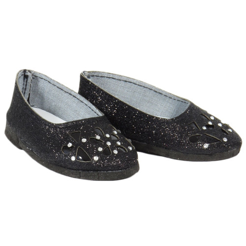 18 inch doll shoes - Black Sparkle Floral Cutout Flats