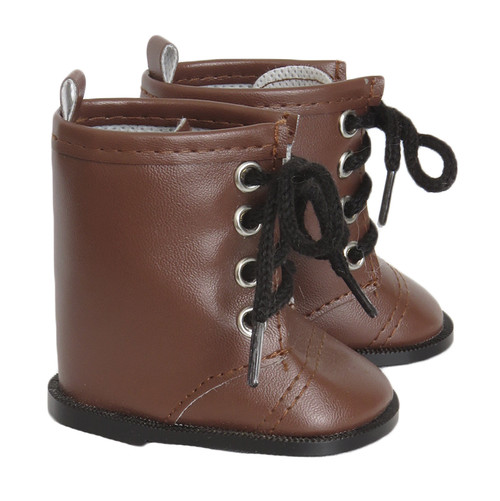 Brown Combat Boots for 18 inch American Girl or Boy dolls.