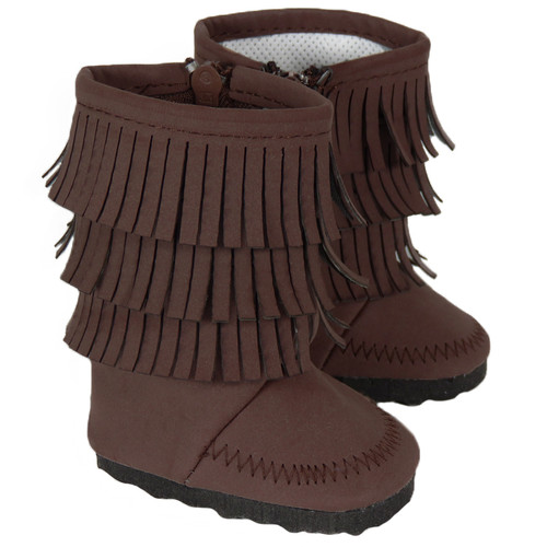 Brown Fringe Boots for 18 inch dolls