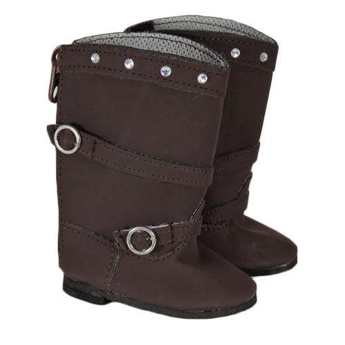 Dark Brown Rhinestone Boots for 18 inch dolls.