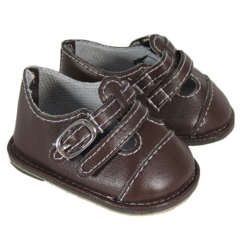 Dark Brown Double Strap Dress Shoes FOR 18 INCH DOLLS