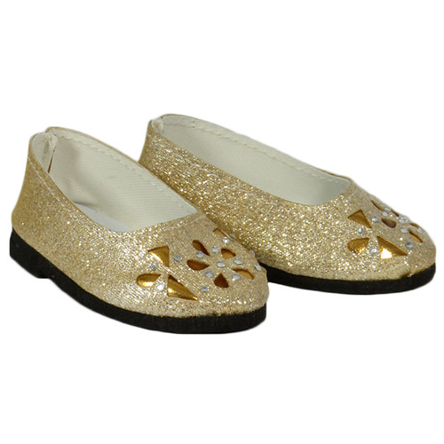 Gold Sparkle Floral Cutout Flats - 18 inch AG doll shoes