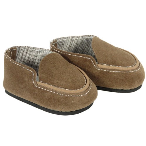 Brown Suede Loafers for AG boy or girl dolls.