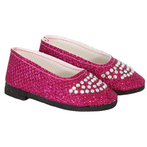 Dark Pink Sparkle and Rhinestone Flats for 18 inch dolls.