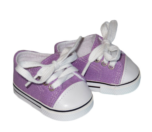 Shoes for 18 inch boy or girl dolls - Lavender Low-Rise Canvas Sneakers