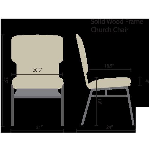 standard wood frame church chairs