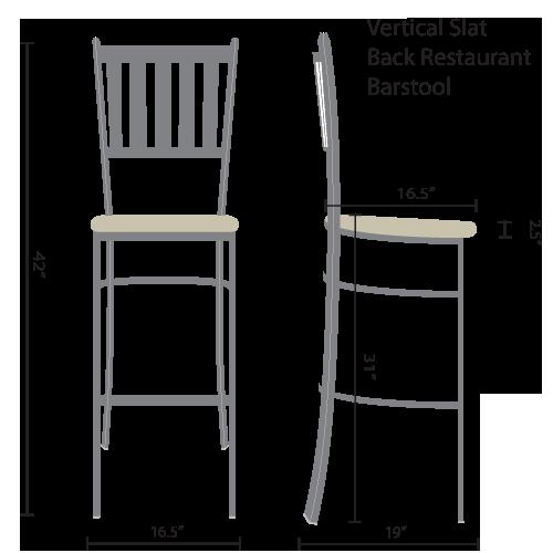 vertical slat back restaurant barstools