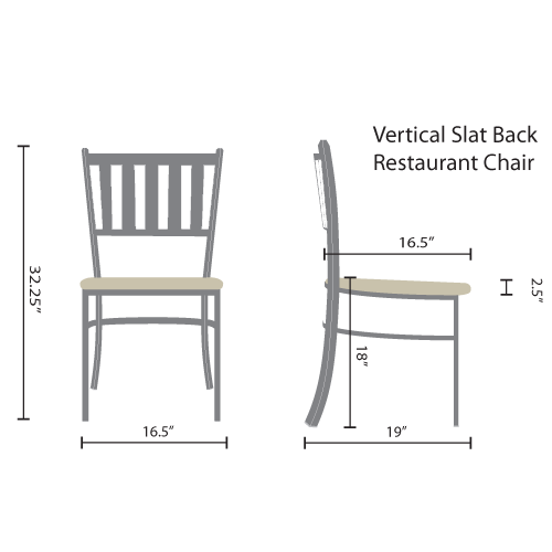 vertical slat back restaurant chairs