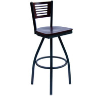 BFM Seating Espy Metal Slotted Wood Back Restaurant Swivel Bar Stools [2151S-SBW]