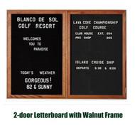 Ghent 48x60-inch Enclosed Black Letter Board - Walnut Frame [PN24860B-BK]