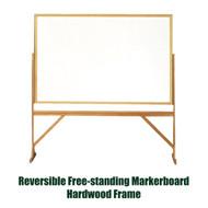 Ghent 3'x4' Reversible Free Standing Whiteboard - Hardwood Frame [RMM34]