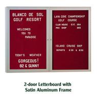 Ghent 36x60-inch Enclosed Burgundy Letter Board - Satin Aluminum Frame [PA23660B-BG]