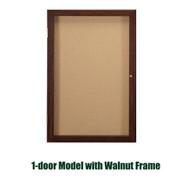 Ghent 36x24-inch Enclosed Cork Bulletin Board - Walnut Frame [PN13624K]