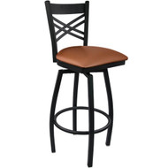 Advantage Cross Back Metal Swivel Bar Stool - Mocha Padded [SBXB-BFMV]