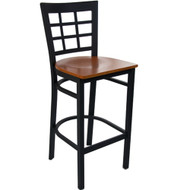 Advantage Window Pane Back Metal Bar Stool - Cherry Wood Seat [BSWPB-BFCW]