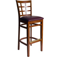BFM Seating Pennington Cherry Wood Window Pane Restaurant Bar Stool [WB629CHV]