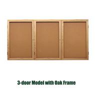Ghent 36x72-inch Enclosed Cork Bulletin Board - Oak Frame [PW33672K]