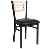 BFM Seating Espy Black Metal Slotted Wood Back Restaurant Chair - Padded Seat [2151C-SBV]
