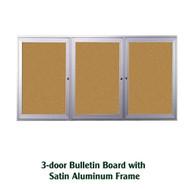 Ghent 36x72-inch Enclosed Cork Bulletin Board - Satin Aluminum Frame [PA33672K]
