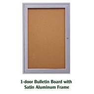 Ghent 24x18-inch Enclosed Cork Bulletin Board - Satin Aluminum Frame [PA12418K]