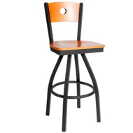 BFM Seating Darby Metal Circle Wood Back Restaurant Swivel Bar Stools [2152S-SBW]