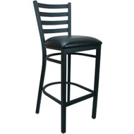 Advantage Ladder Back Metal Bar Stool - Black Padded [BSLB-BFBV]