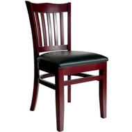 BFM Seating Princeton Mahogany Wood School Back Restaurant Chair [WC7218MHV]