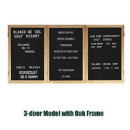 Ghent 48x96-inch Enclosed Black Letter Board - Oak Frame [PW34896B-BK]