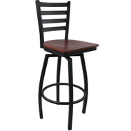 Advantage Ladder Back Metal Swivel Bar Stool - Mahogany Wood Seat [SBLB-BFMW]