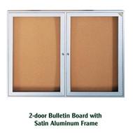 Ghent 36x48-inch Enclosed Cork Bulletin Board - Satin Aluminum Frame [PA23648K]